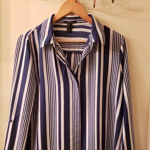 Navy Blue Striped Button Down